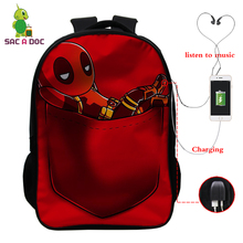 USB Charger Children School Backpack Bags Deadpool Prints Bagpack for Teenage Girls Boys Schoolbags16 Inch Pokemon Lock Bookbag