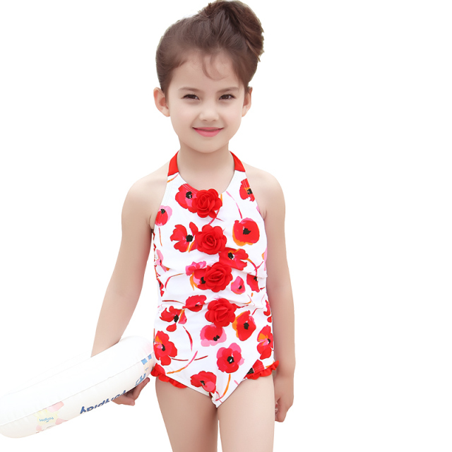 26926c4187 Chinese Red Girls One Piece Swimsuit Kids Summer Swimwear Children Girls Beachwear  New 2017 Swim Girls Swimsuit