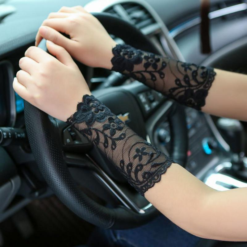 15cm Spring Summer Sunscreen Women Arm Warmers Scar Covered Anti Uv Driving Fingerless Gloves Lady Sexy Lace Arm Sleeves AGB655