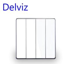 Delviz EU standard Luxury Crystal Glass Panel, Big key switch 16A, Four Gangs,4 Way Push Button Home Wall Switch UK power switch