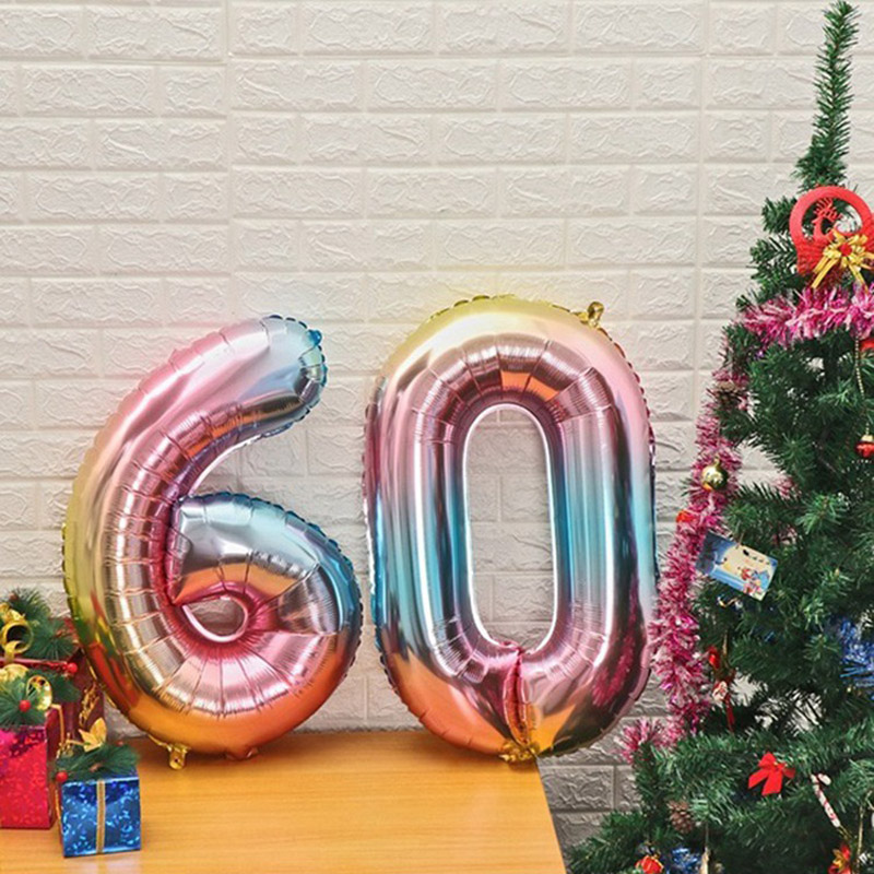 32inch Rainbow Gradient Love Happy Birthday 20th 30th 50th Letter Foil Number Balloon Wedding 1st Birthday Party Decor Globos in Ballons Accessories from Home Garden