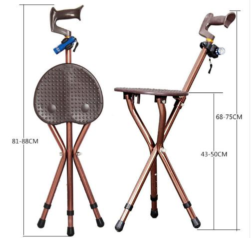 The old man to help line tool folding chair old man walking gear bench tripod LED lighting portable elderly self-help gear the elderly to help line device handrail help frame the old man walking aid walking cane chair stool