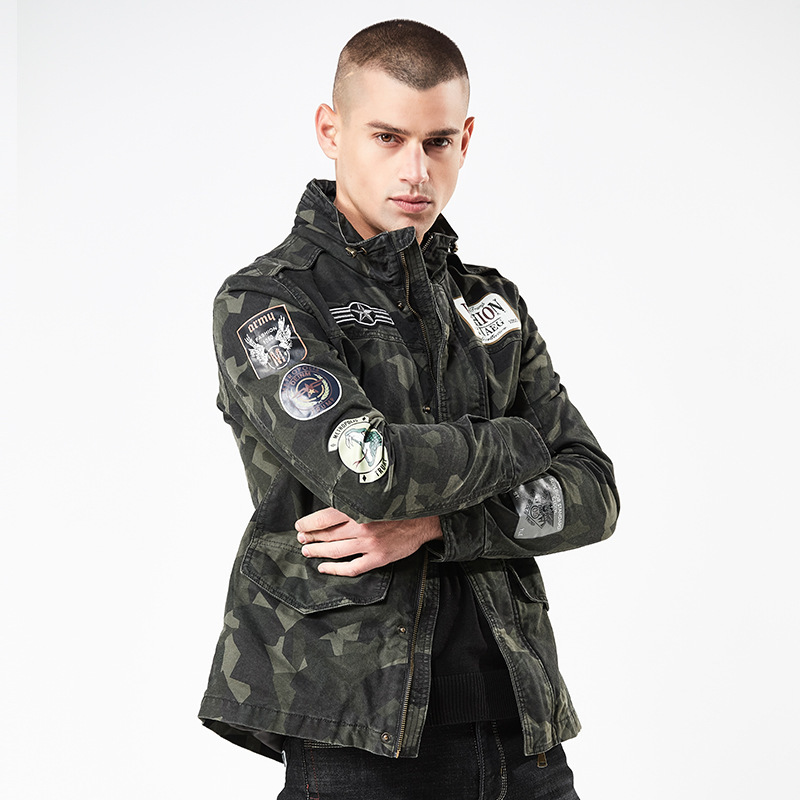 2018 nouveau 4XL hommes Camouflage veste d'automne mode col montant Streetwear coton vestes décontractée manteau hommes haut Ourwear-in Vestes from Vêtements homme    3