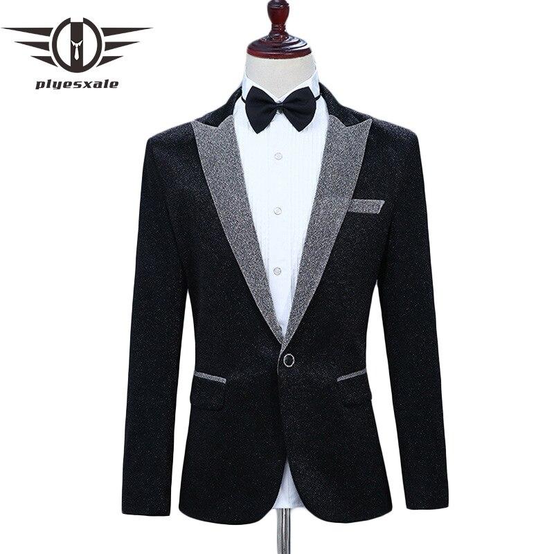 Erkek Kıyafeti'ten Blazerler'de Plyesxale Blazer Erkekler 2018 Slim Fit Parti Balo Blazers Erkekler Için Zarif Erkek Blazers Casual Marka Şarkıcılar Için Sahne Kostümleri q284'da  Grup 1