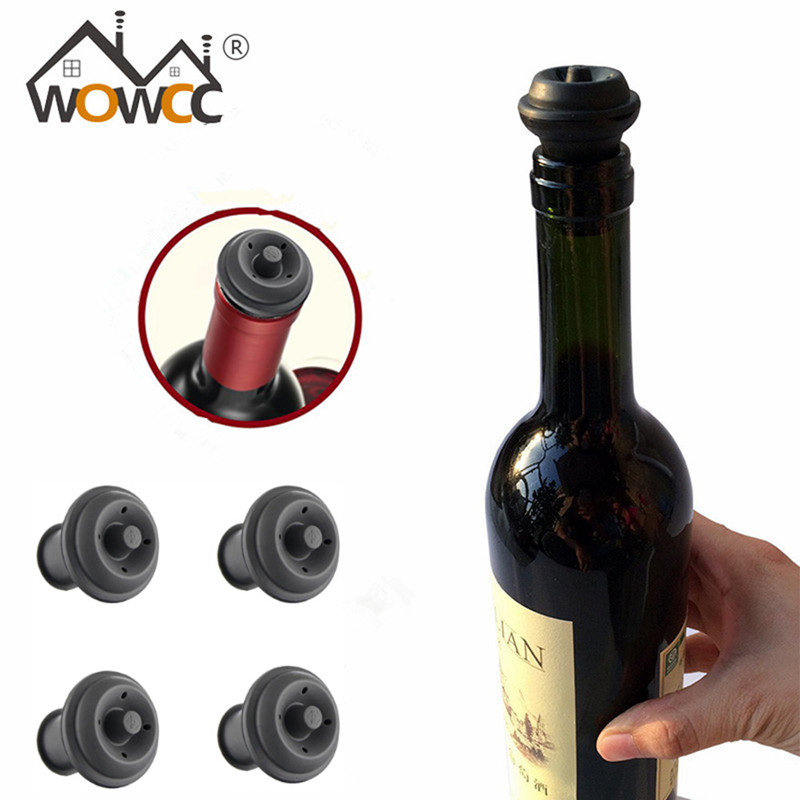 4x Rubber Suction Bottle Stopper Vacuum Wine Fresh Pumps Drink Seal Stopper Set