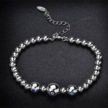 LUKENI Latest Female Balls Silver Bracelets For Women Jewelry Charm Blue Eyes Design Girl Lady Christmas Bijou