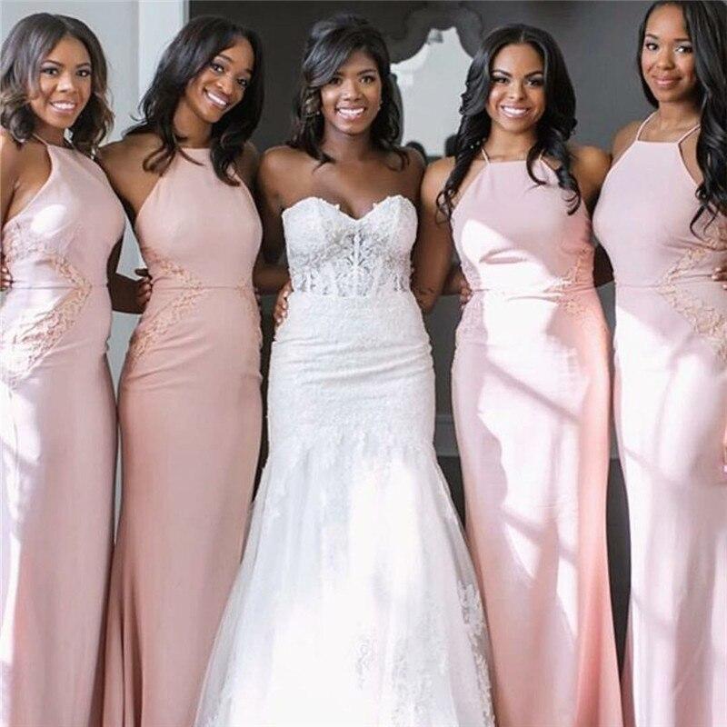 Wedding Gowns For Dark Skin: Rose Pink Bridesmaid Dresses Long Mermaid Sleeveless Off