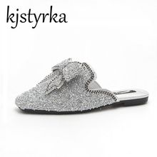 Kjstyrka 2018 Spring Summer New Fashion Women Slippers Outdoor Square Toe  Bling Crystal Female Slides woman mules shoes c19b6f9d1a5c