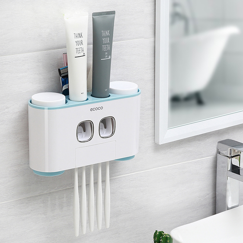 LIYIMENG Creative Automatic Toothpaste Dispenser with 4 Mouth Cup Toothbrush Holder Bathroom Water Resistant Sticky ToothpasteLIYIMENG Creative Automatic Toothpaste Dispenser with 4 Mouth Cup Toothbrush Holder Bathroom Water Resistant Sticky Toothpaste
