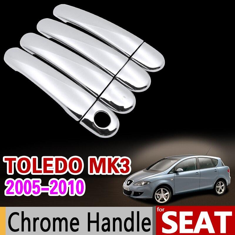 for Seat Toledo MK3 2005-2010 Luxurious Chrome Handle Cover Trim Set 5P 2006 2007 2008 2009 Car Accessories Sticker Car Styling geely mk cross mk cross car wheel sticker car accessories