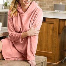 66219da35 Outono Inverno Mulheres Camisa de Dormir Confortável Prata Raposa Velo  Sólidos Manga Comprida Pijamas de Mulher Pijamas Vestido .