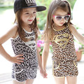 Retail  2015 New retail summer girl clothing set golden leopard superman vest shorts 2pcs girls set