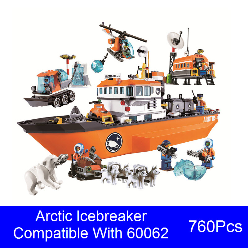 2017 New Bela 10443 760Pcs Lepin City Arctic Icebreaker Model Building Kits Blocks Brick Kids Toy Compatible 60062 For Children bela 10439 compatible lepin city arctic helicrane building blocks policeman figure toys for children girls