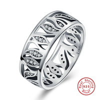 S Flower Leaf Leaves Story Clear CZ Ring For Women Jewelry 925 Sterling Silver Wedding Ring