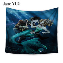 JaneYU Mermaid Patten Wall Decoration Blankets Sheets Table Cloth Polyester Mandala Tapestry Tapiz