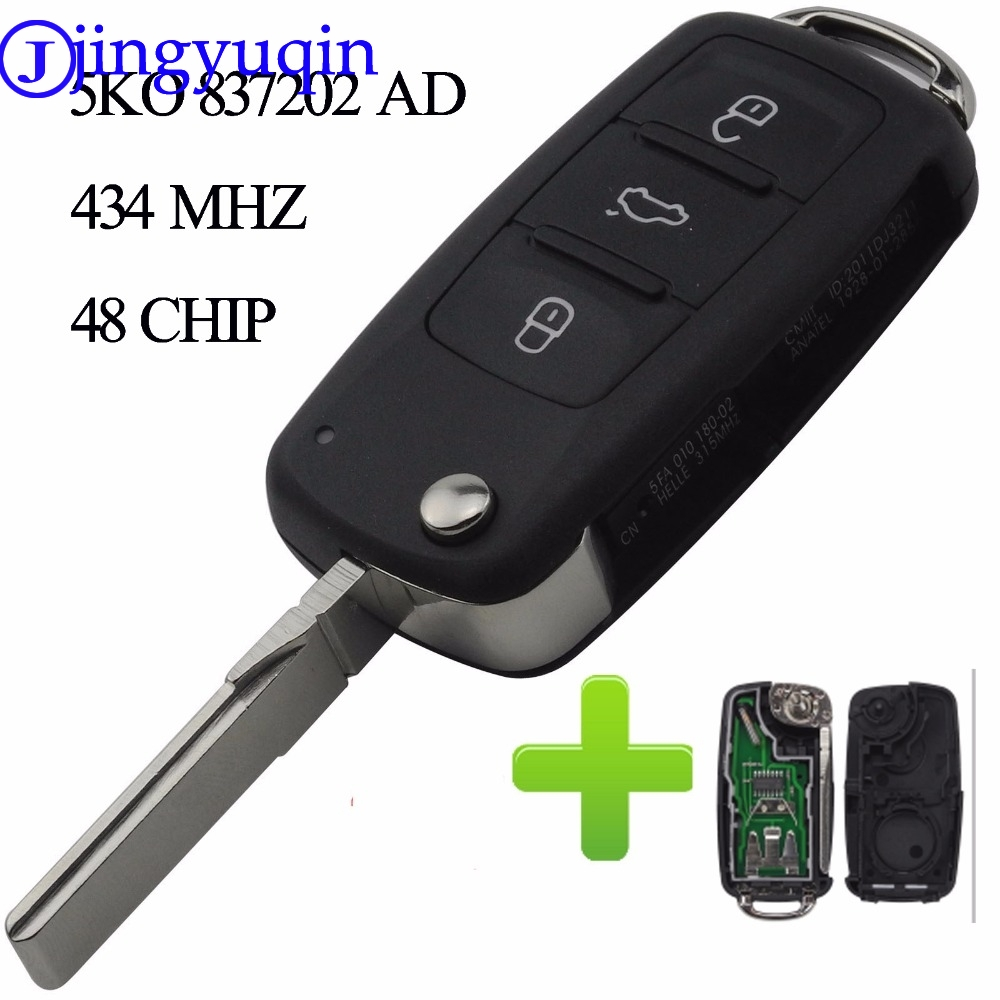 jingyuqin 434MHZ With ID48 Chip 3 Buttons Remote Key For VW Volkswagen GOLF PASSAT Tiguan Polo Jetta Beetle Hella 5K0837202AD babaai for volkswagen vw polo golf fox beetle passat tiguan pu leather weave ventilate front