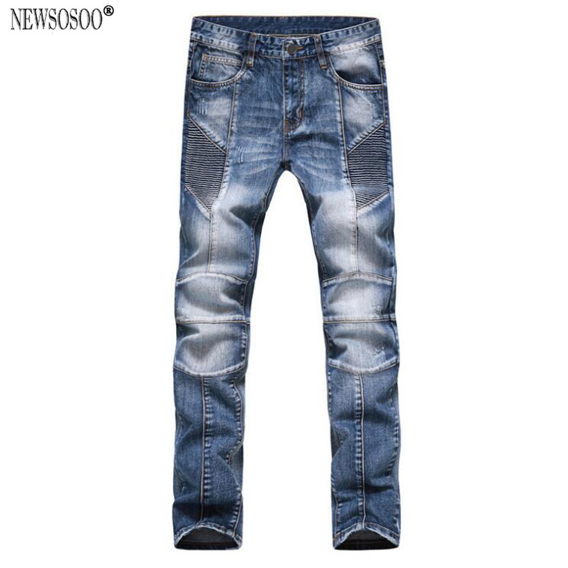 ФОТО Newsosoo brand Men's casual biker jeans Large size slim fit stretch denim pants Motorcycle long trousers MJ8