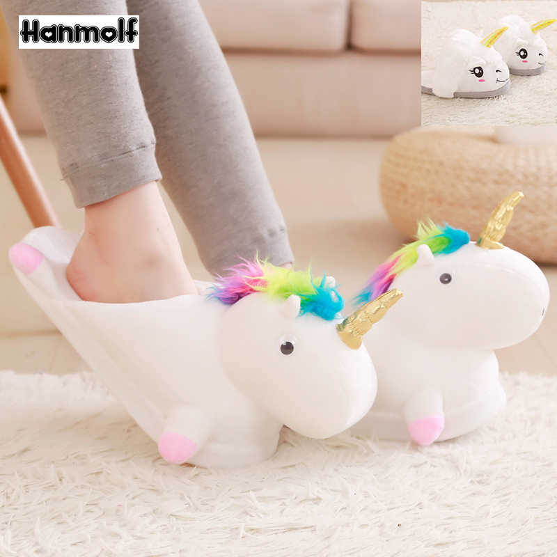 6bdf30b1d20 Plush Unicorn Slippers Cartoon Animals Indoor Shoes Adults Anti-slip  Rainbow Hair White Unicorn Slippers