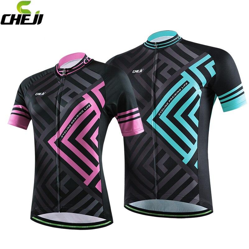 Prix pour CHEJI Hommes Femmes Couple Chemises Ropa Ciclismo Cycling Team Jersey Vélo À Manches Courtes Tops Vêtements de Plein Air Rose/Bleu
