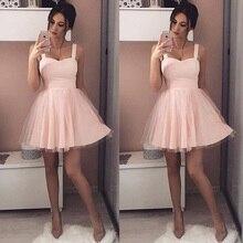 Сексуальное розовое вечернее Тюлевое платье для вечеринки, женское бальное платье на бретелях без рукавов, женские повседневные Мини-платья