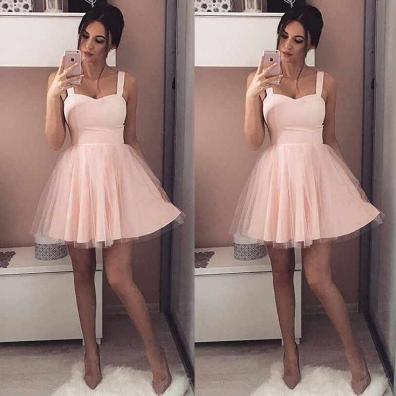 Sexy Pink Evening Party Tulle Dress Women Strap Sleeveless Ball Gown Dresses Female Casual Mini Dresses