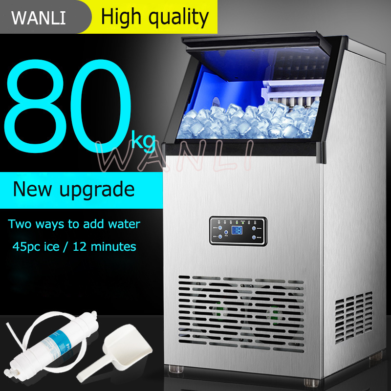 80KG/24H Ice Maker Commercial Cube Ice Machine Automatic Home Ice Machine For Bar Coffee Shop Tea Shop