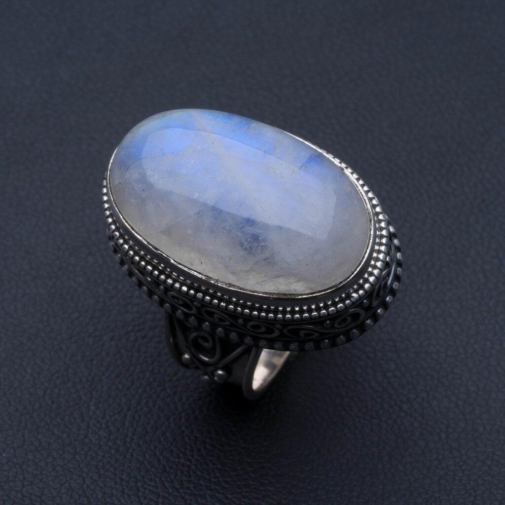 Bague en argent Sterling 925 avec pierre de lune arc-en-ciel naturel, taille américaine 6.5 R3560
