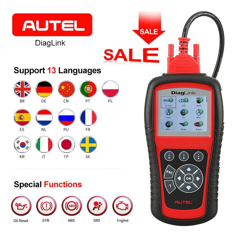 AUTEL Diaglink OBD2 Scanner EOBD Automative Outil De Diagnostic Lecteur de Code Complet SRS Fonction bricolage version de MD802 accessoires de voiture