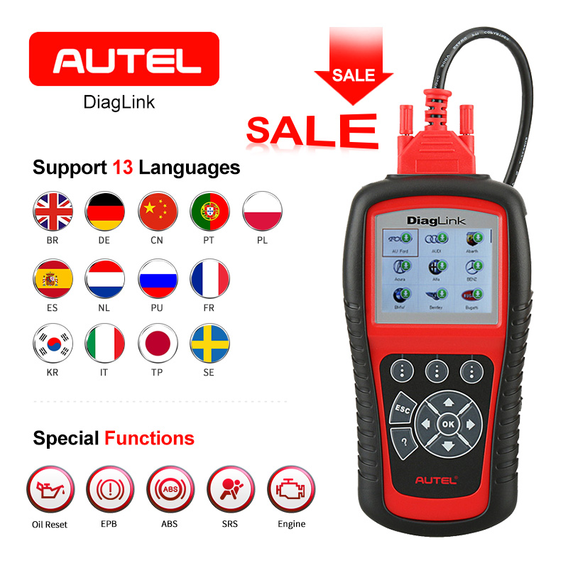 AUTEL Diaglink OBDII/EOBD Automative Diagnostic Tool OLS/EPB/ABS/Oil Reset SRS Transmission All System Code Reader Scanner lacywear s 12 ols