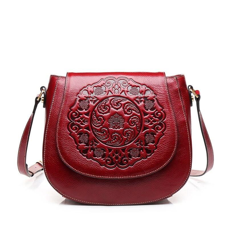 Haute qualité fleur doux Vintage mode couverture ouverture femmes sacs à bandoulière en cuir véritable appliques style chinois sac de selle