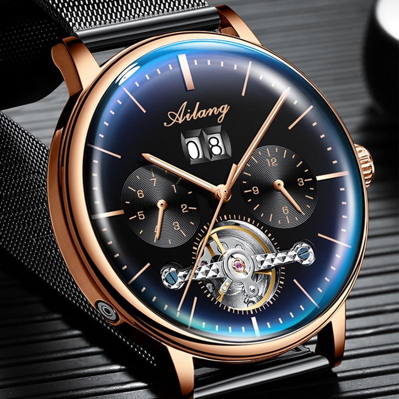 2019 nuevo reloj automático AILANG reloj mecánico para hombre relojes de turbillon impermeables luminosos Steampunk de lujo reloj masculino - 2