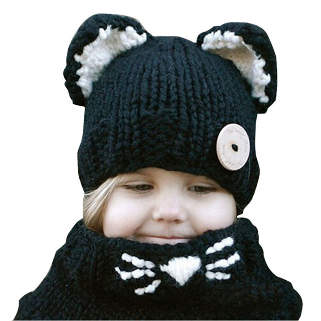 New Arrival Cat Ear Winter Windproof Baby Hats And Scarf Set For Kids Boys Girls Shapka Caps For Children Free Shipping