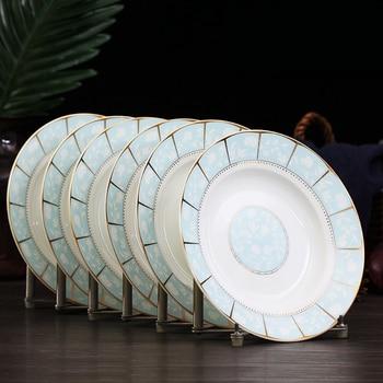 Jingdezhen ceramic dishes Household ceramic plate 6 pcs set Simple Round Dinner Plates,Dumpling Plate,Chinese Cutlery Set