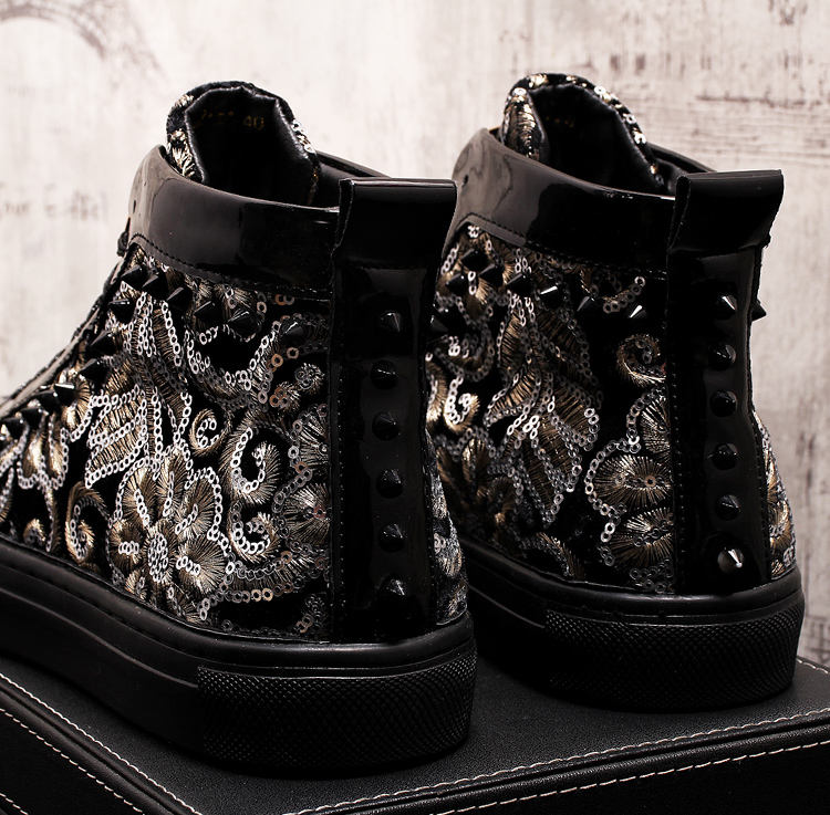Stephoes 2019 Men Fashion Casual Ankle Boots Spring Autumn Rivets Luxury Brand High Top Sneakers Male High Top Punk Style Shoes 63