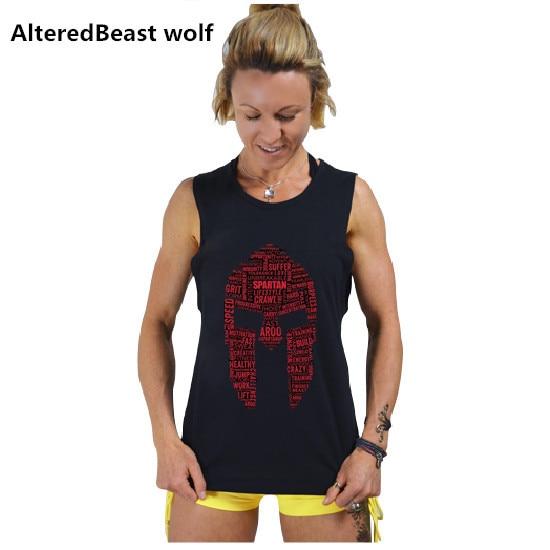 eba546f7a9f Marca 2018 verano mujeres Camisetas de tirantes Spartan imprimir negro  algodón bodybuilding Tank Top fitness mujeres