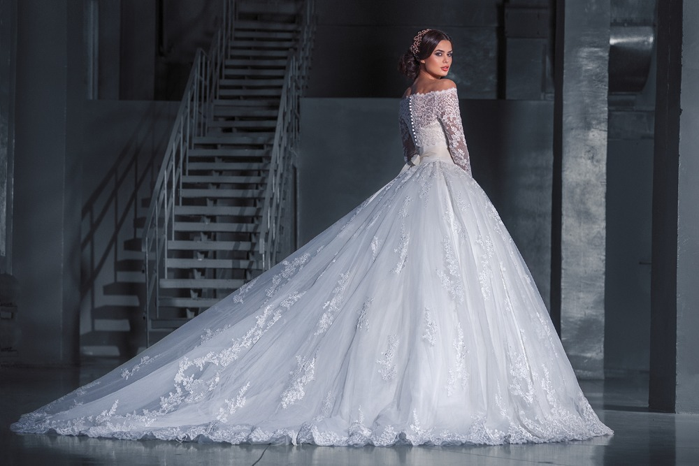 Elegant Ball Gown Wedding Dress White Lace Appliques Long
