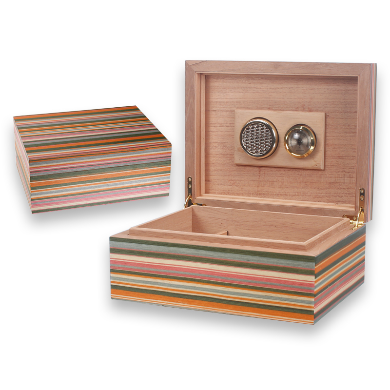 LUXFO 50CT Humidor Box cedar Wood Lined Hygrometer Humidifier Smoking Cigar Accessories Gifts image
