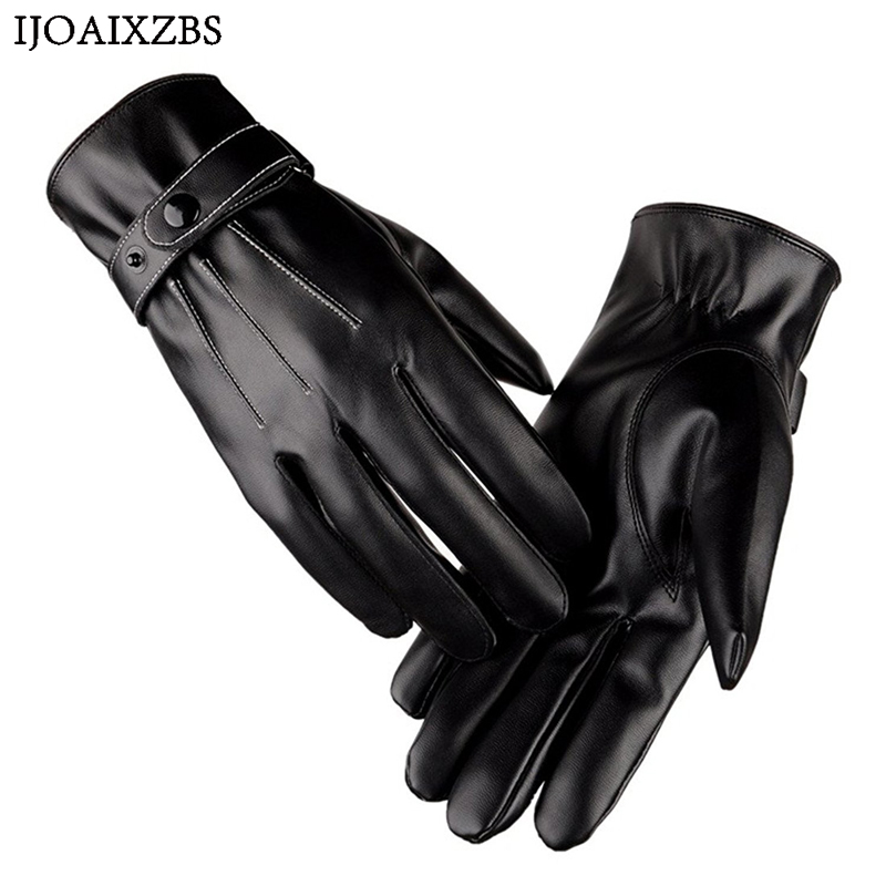 Natural Leather Gloves Men Winter Sensory Velet Tactical Gloves Fashion Wrist Touch Screen Cycling Motorcycle Keep Warm PU Glove