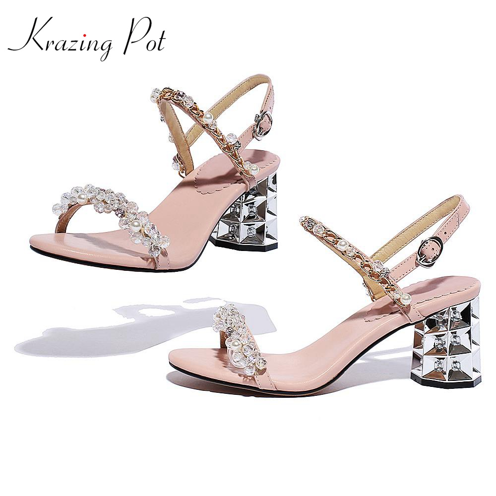 Krazing pot genuine leather ankle straps crystal pearl studded women sandals women wedding crystal high heels