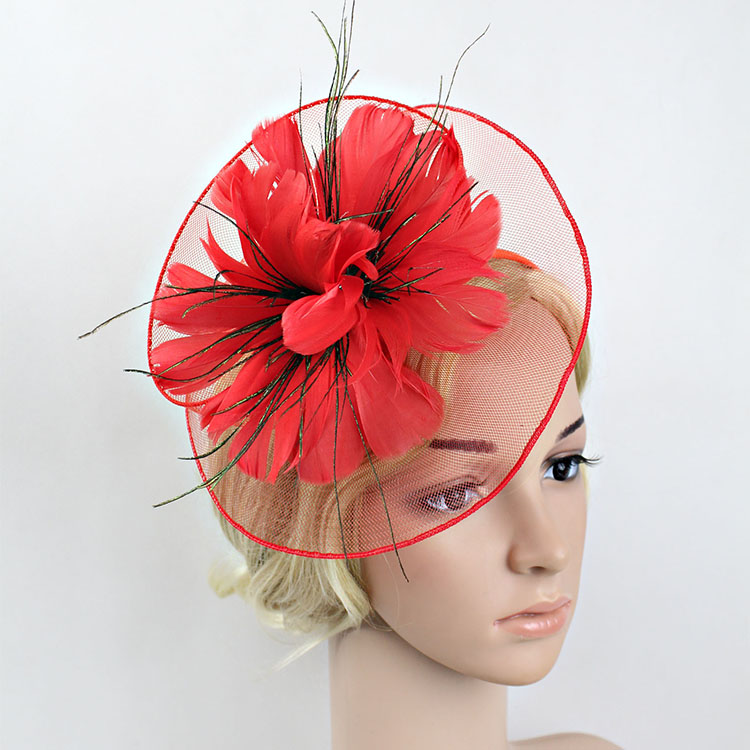 0c3c7660c97 Feather Mesh Hair Band Wedding Hat And Fascinator For Women Chapeu Casamento  Red Fancy Floral Hair Accessories Bridal Headpieces-in Women s Hair  Accessories ...