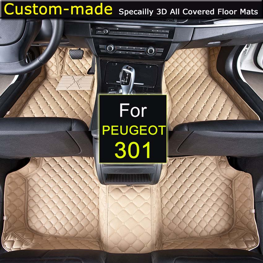 For Peugeot 301 Car Floor Mats Customized Foot Rugs 3D Auto Carpets Custom-made for Peugeot 301307 308