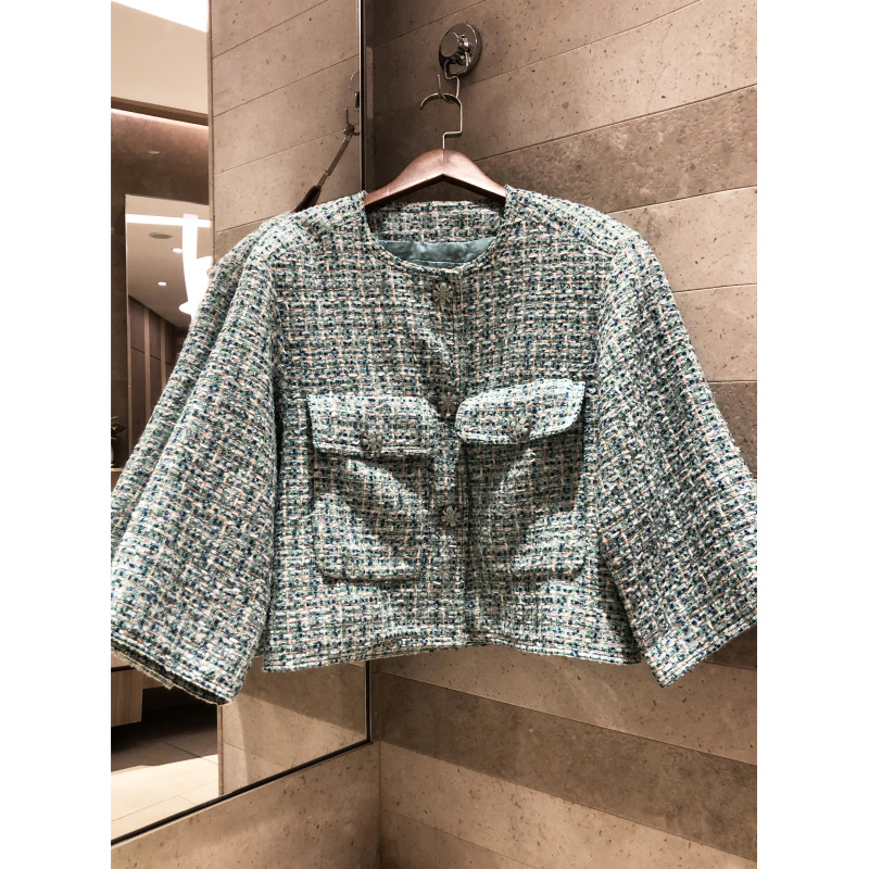 Thin section tweed button short jacket button decoration casual women s loose braided jacket silk lining