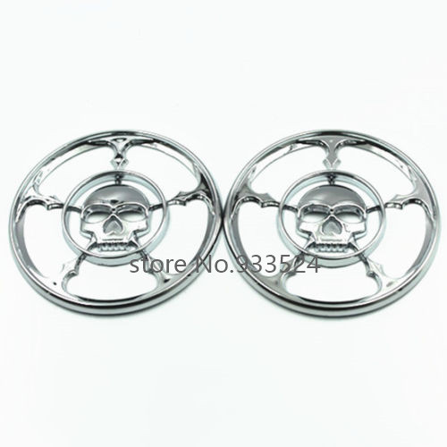 Chrome Skull Speaker Grills Cover For Harley Davidson