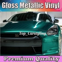 Emerald Green Gloss Metallic Car Wrap Styling With candy Glossy Air bubble Free full car Covering foil PROTWRAPS 1.52x20m/Roll