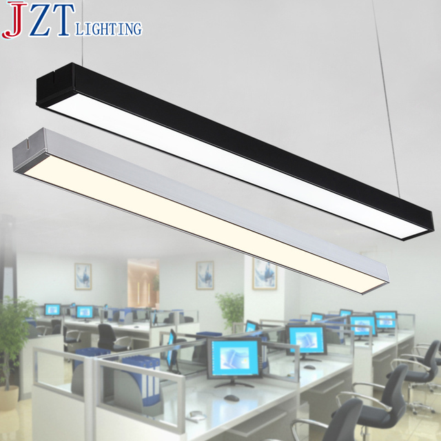 M Black Silver Led Strip Lights Office Clroom Chandeliers Modern Fluorescent Long Bar Aluminum Lamp