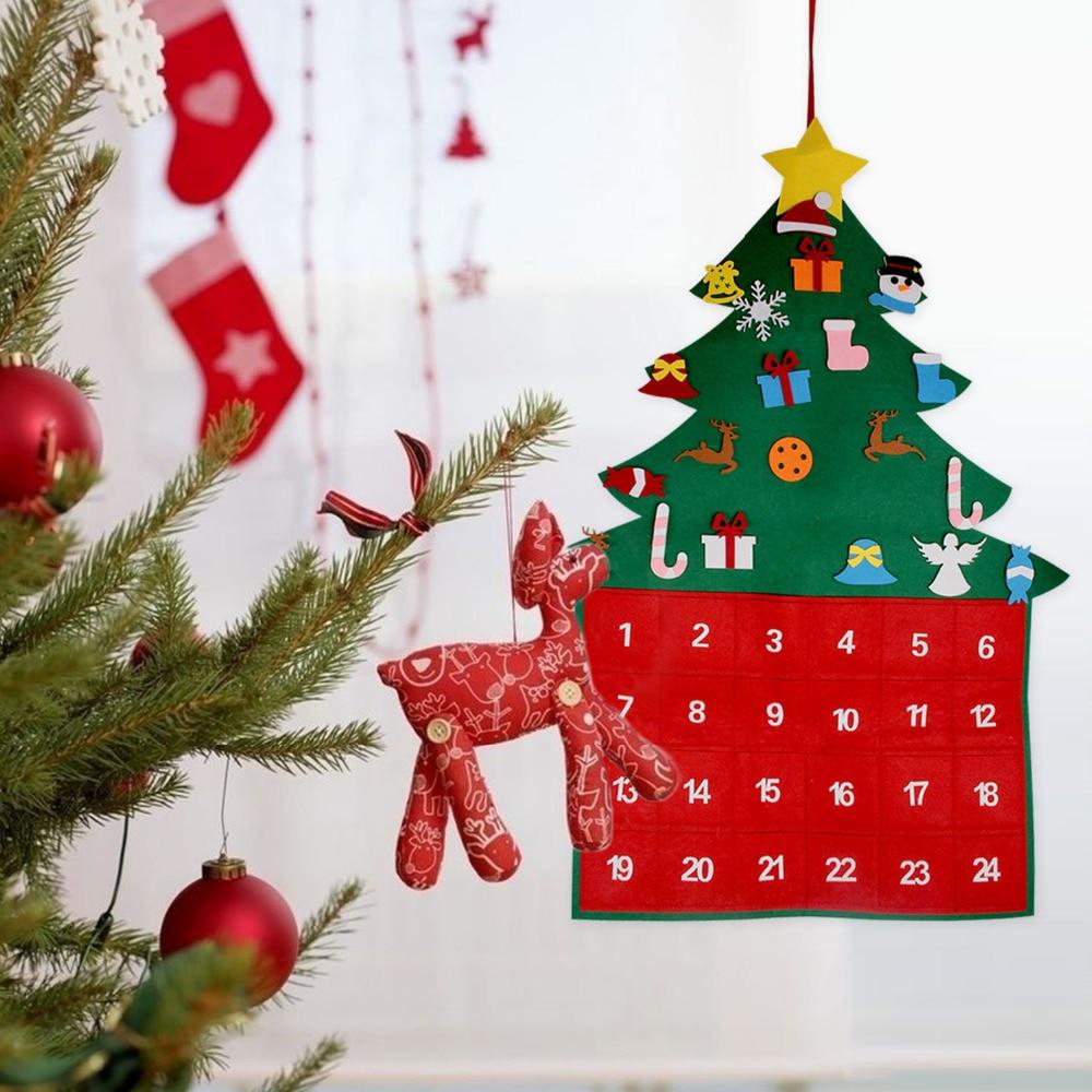 Felt Christmas Tree Advent Calendar: Behogar Cute Felt Christmas Tree Style Hanging 24 Day