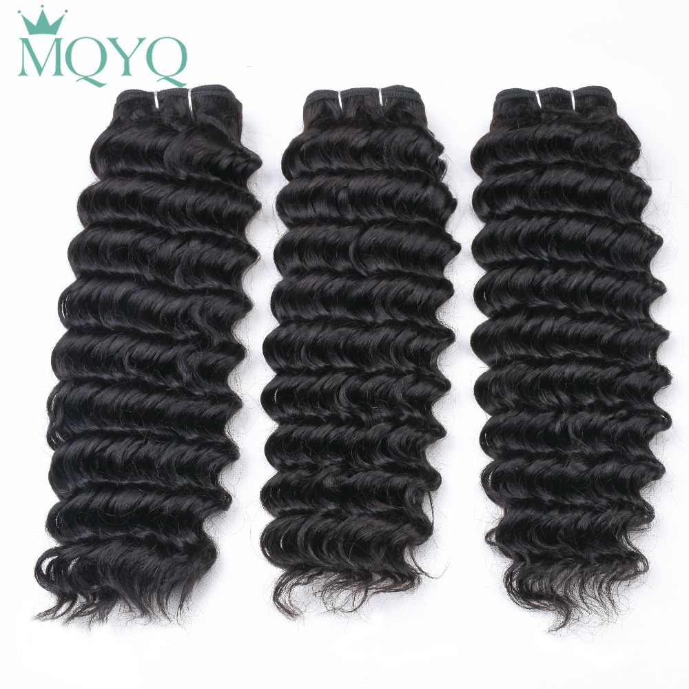 MQYQ Malaysian Deep Wave Human Hair 2/3/4 Bundles with Ear to Ear Closure 13x4 Lace Frontal Closure with Bundles Remy Hair