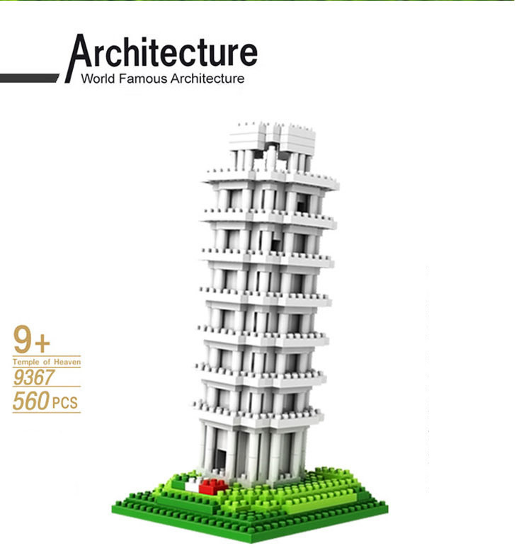 Loz World famous architecture nanoblock model The Leaning Tower of Pisa Italy mini diamond building block city educational toys