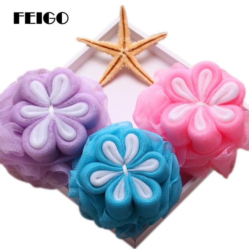 FEIGO Multi-Color Floral Bath Ball Adult Children Clean Body