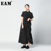 [EAM] 2018 New Summer Fashion Tide Black Stand Collar Short Sleeve Wave Point Patchwork Ruffles Single Breasted Woman Dress S760